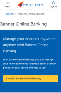 Banner Bank Login and Registration Page