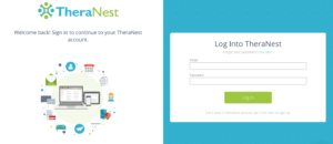 TheraNest: Login and Registration Page