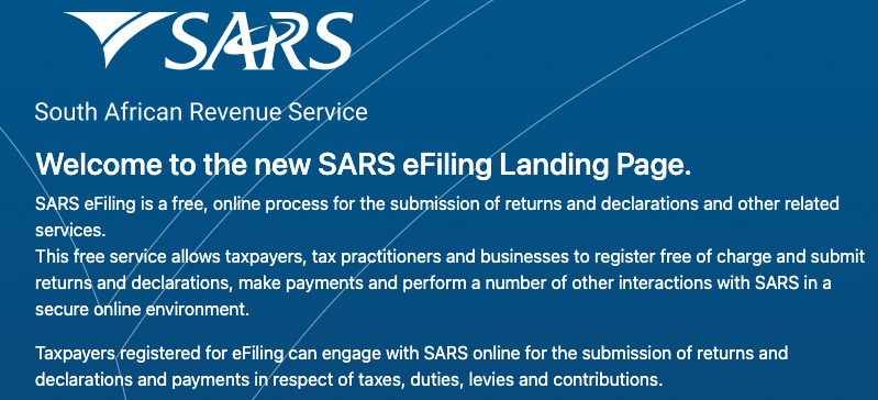 SARS Login Online EFilling System South Africa