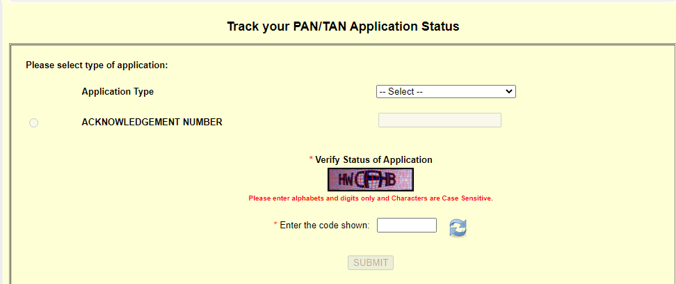 Track PAN Card by Application No